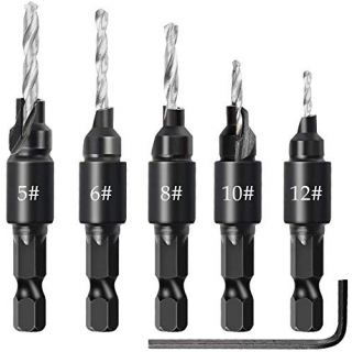 Набор сверла для электроинструментов с шестигранным ключом для пластика (5шт, #5 #6 #8 #10 #12)